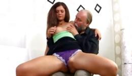 Stunning bimbo having sexual intercourse with old fat man