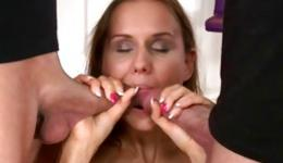 Hot naked beauty is riding a huge dick and gets double penetrated