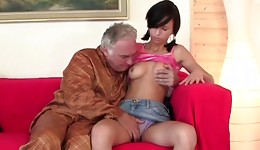 This seductive brunette woman is getting her snatch touched by mature