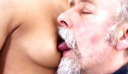 Blonde messy bitch is getting her private body parts sucked by man