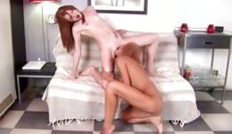 Attractive lascivious hottie gets her anus fucked with dildo by her gf