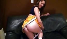 Hot cheerleader bending is bending over gets fucked and is sucking rod