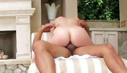 Statuesque enchantress is spreading her long legs to gain an awesome orgasm
