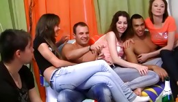 Hot gangbang with chicks getting drunk and being slammed hard