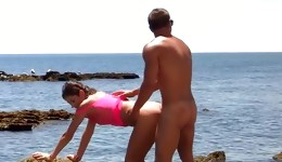 Hot babes are having dirty and fine sex action right in the beach
