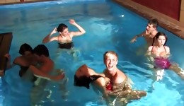 A crazy fuck in the swimming pool which can finish with a lot of sperm