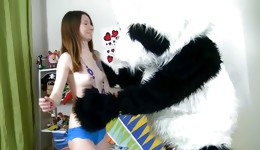 Appealing doll perfectly sucks this nice Panda's knob