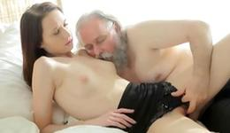 Grey bearded anybody is deep giving a French a honkers and fingering her pretty muff crack