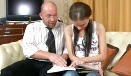 Ideal little one lover is getting her persuaded by a horney aged prof