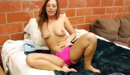 Hot brunette showing her skinny body and masturbating her wet pussy