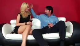 Blonde getting her sweet anal poked with a stiff rod and is sucking it