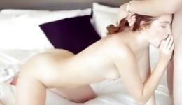 Hot passionate beauty lying on bed getting tight pussy hole pleased