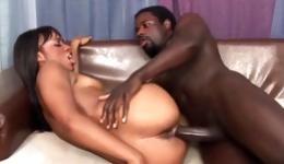 Hot ebony bitch riding a fierce black cock and gives him a blowjob