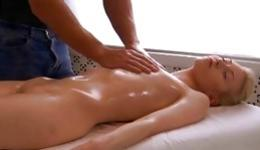 Lovely blonde is getting massaged rough and her mouth is drilled
